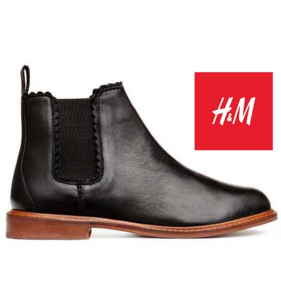 Girls Black Leather Chelsea Boots Size